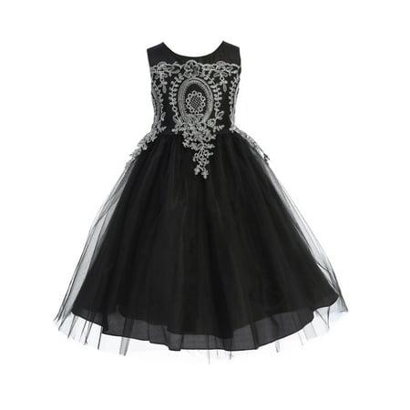 Ellie Kids Girls Black Drop Down Lace Overlay Tea Length Christmas Dress Lace Tea Dress