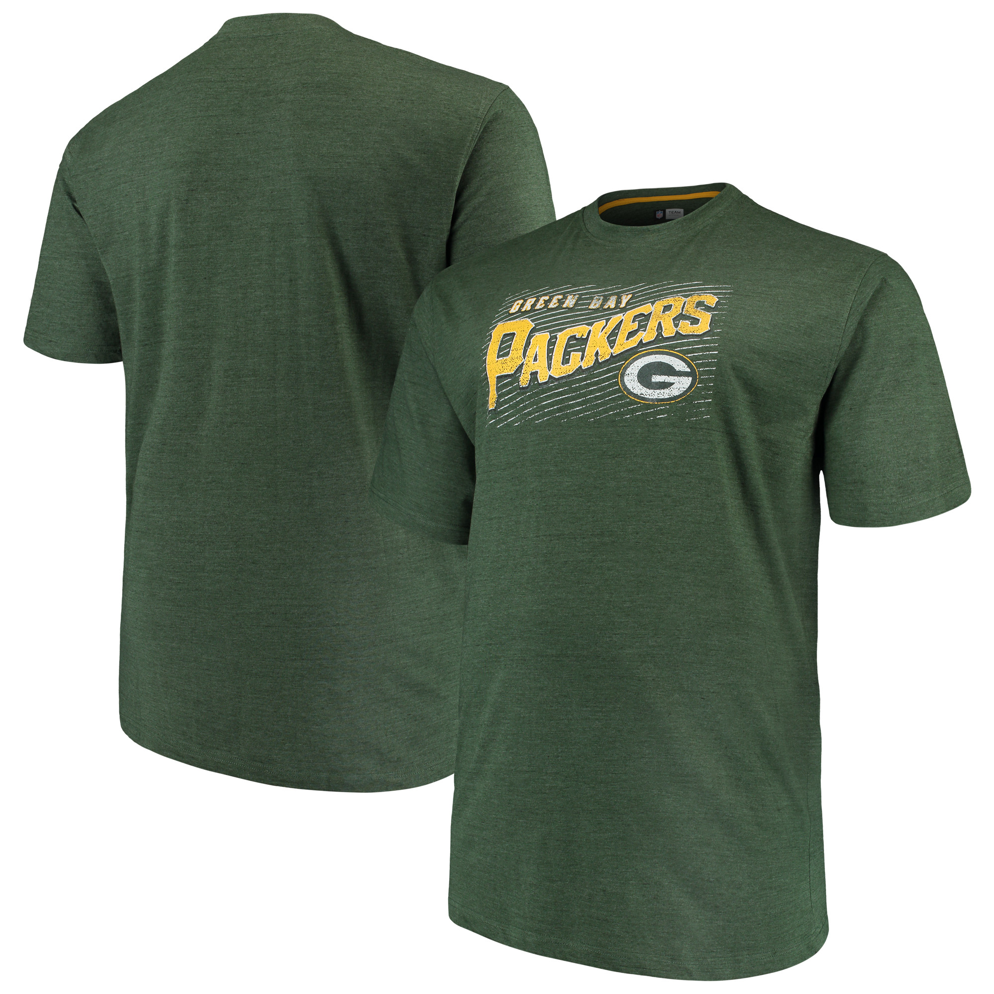 Men's Majestic Green Green Bay Packers Big & Tall Royal Domination Malt T-Shirt