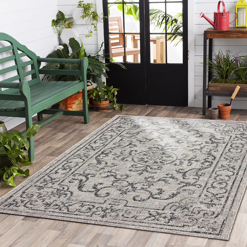 LR Home Sun Shower All Weather Beige / Black 5 ft. x 8 ft. Polypropylene Machine Made Modern Contemporary Floral Deck Patio Indoor / Outdoor Area Rug