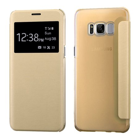Frosted Leather (Galaxy S8 Plus Case and Glass Screen Protector Bundle, by Insten Silk Texture Leather Flip Case (with Frosted Tray) For Samsung Galaxy S8+ S8 Plus - Gold (Bundle with Tempered Glass Protector))