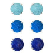 Set of 3-pair Sterling Silver 8-mm Light Purple/ Blue/ Bright Blue Ice Cubic Zirconia Stud Earrings