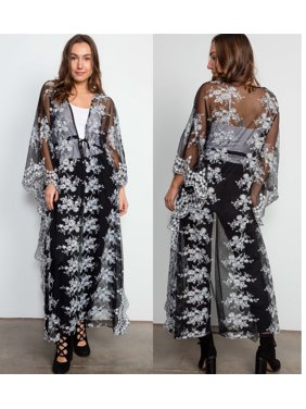 4fab65d2d3 Product Image JED FASHION Women s Floral Embroidery Maxi Kimono Top with  Waist Tie