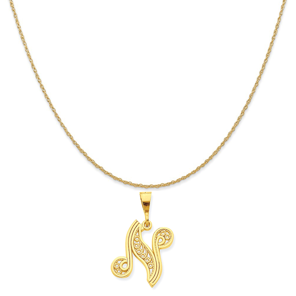 """10k Yellow Gold Initial N Charm on a 14K Yellow Gold Rope Chain Necklace, 18"""""""