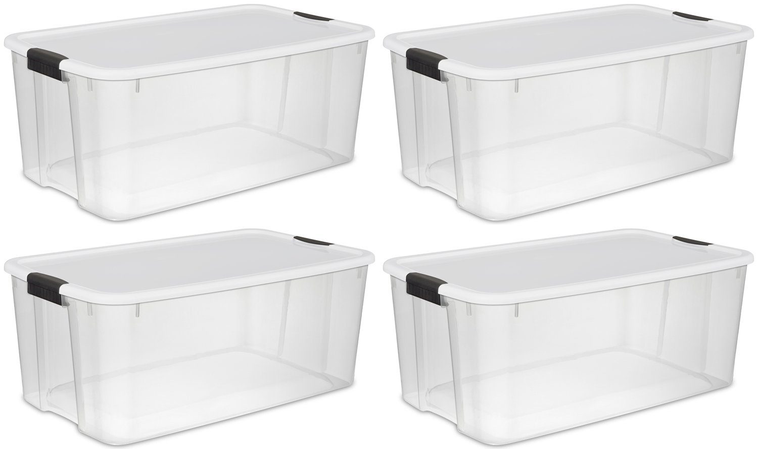 Sterilite 19909804 116 Quart 110 Liter Ultra Latch Box Clear with a White Lid