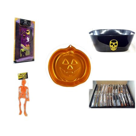 Halloween Fun Gift Bundle [5 Piece] - Happy  Door Panel - Black With Skeleton Oval Party Tub - Wilton Iridescents Jack-O-Lantern Pan - Hanging Skeleton Orange - Large Box  Wooden Craft Stick Figures