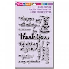 Unmounted Clear Stamps ~ Happy Messages, This item is used for Scrapbook, Card Making, Paper Crafting & Mixed Media. By STAMPENDOUS