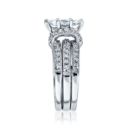 2ct Solitaire Marquise Aaa Cz Pave Band Inset Guard Enhancers