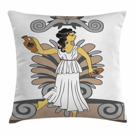 Toga Party Throw Pillow Cushion Cover, Greek Woman with Amphoras in Classical Style Colored Variant Art, Decorative Square Accent Pillow Case, 16 X 16 Inches, Grey Light Brown Black, by - Toga Party Ideas
