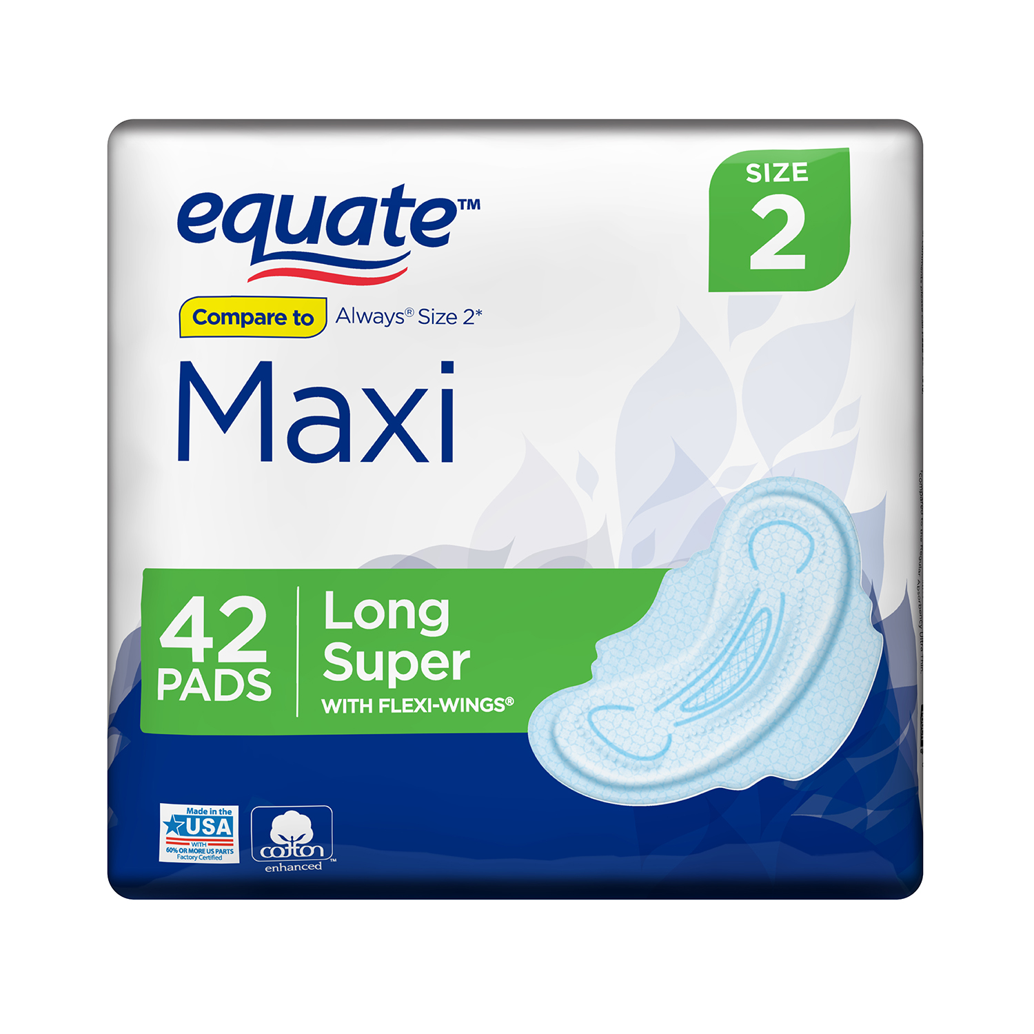 Equate Maxi Pads with Flexi-Wings, Long, Super, 42 Count, Size 2