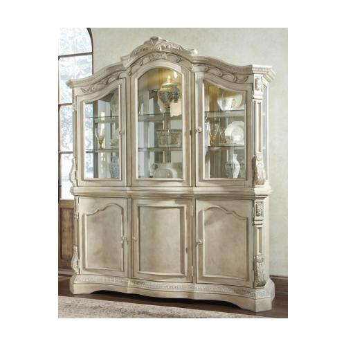 Ashley  D7078081 Ortanique Buffet with Hutch  Elaborately Moulded Ornamentation  Ash Swirl and Birch Veneers in Antique
