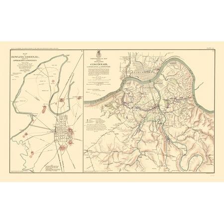 Bowling Green KY Cincinnati Defenses Approaches - Simpson 1895 - 23 x 36.55 ()
