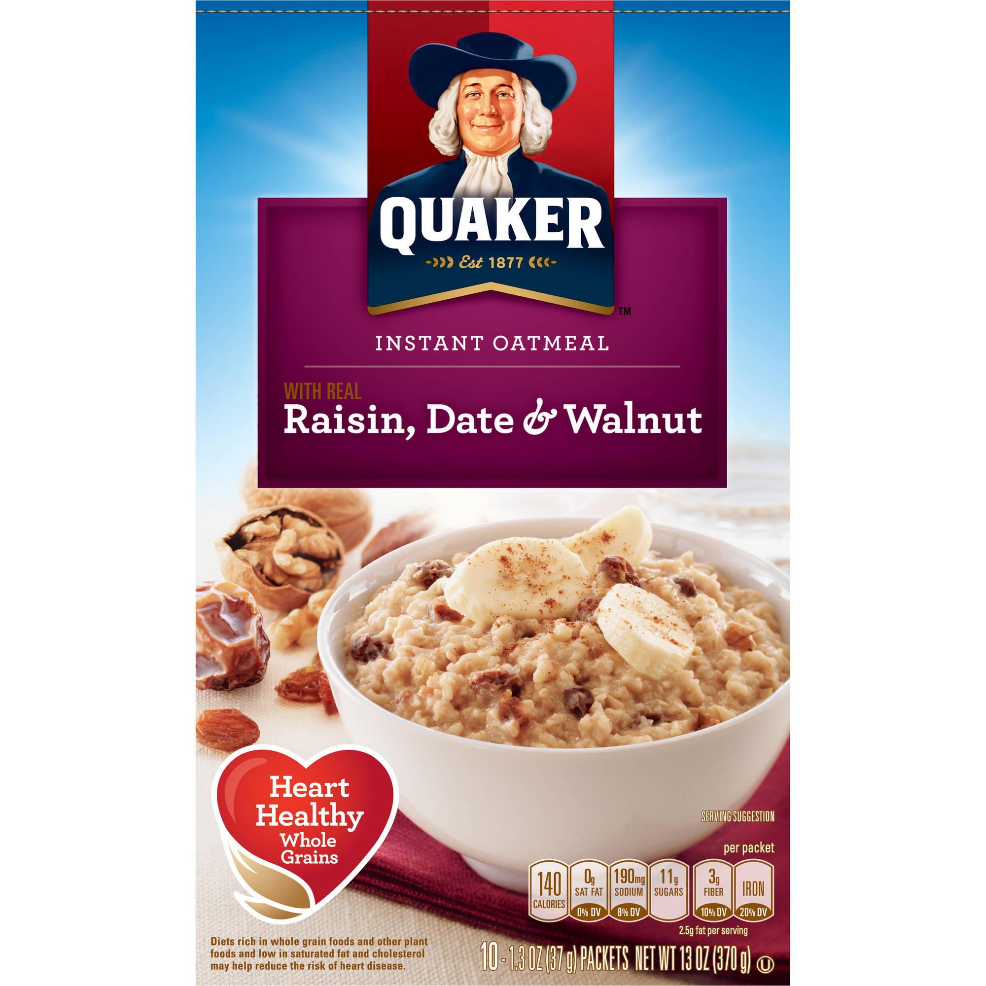 Quaker Raisin Date & Walnut Instant Oatmeal, 13 oz