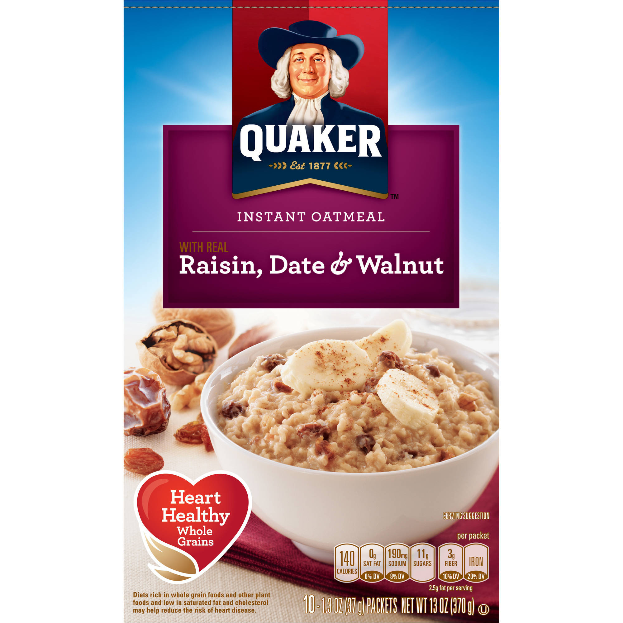 Quaker Raisin Date & Walnut Instant Oatmeal, 13 oz