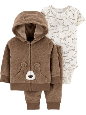Child of Mine by Carter's Baby Boy Fleece Hoodie Jacket, Bodysuit & Pants, 3pc Outfit Set