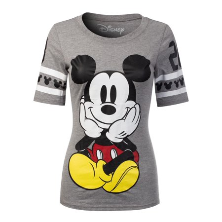 Made by Olivia Women's Disney Mickey Mouse/ Minnie Mouse/ Donald Duck Short Sleeve Crew Neck Top DS441 Grey M](Minnie Mouse Mickey Mouse)