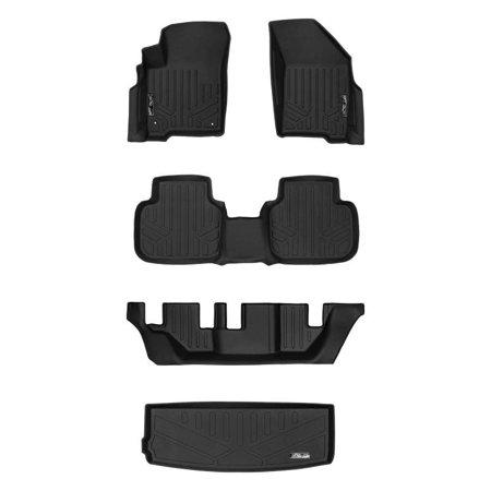 Maxliner 2012-2018 Dodge Journey With 1st Row Dual Floor Hooks Floor Mats 3 Rows Maxtray Cargo Liner Behind 3rd Row Set Black A0198/B0198/C0198/E0198 ()