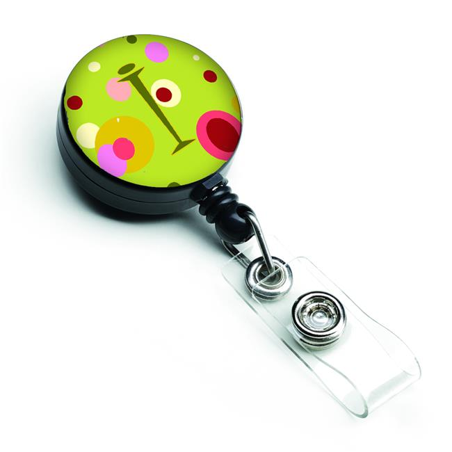 Letter I Monogram Lime Green Retractable Badge Reel - image 1 de 1