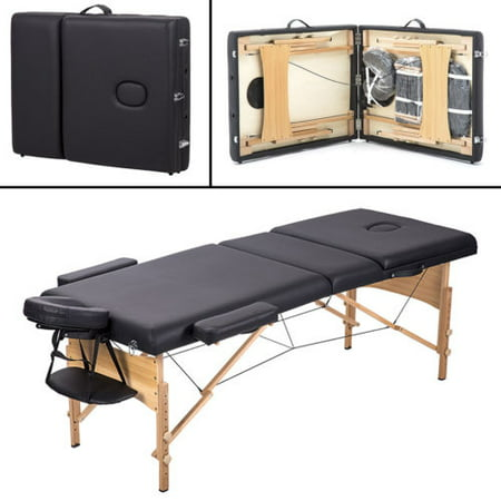 Massage table 3 fold portable massage table w free carry case facial spa bed - Portable massage table walmart ...