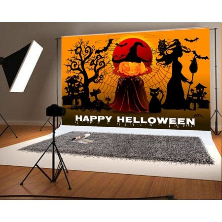 MOHome Polyster 7x5ft Happy Halloween Photo Background Pumpkin Man Backdrops for Photographer Photography - Happy Halloween Photos Pumpkins