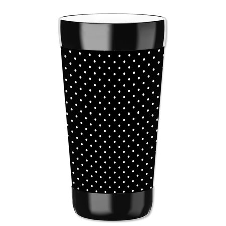 Mugzie 16-Ounce Tumbler Drink Cup with Removable Insulated Wetsuit Cover - White Polka - Polka Dot Cups And Plates