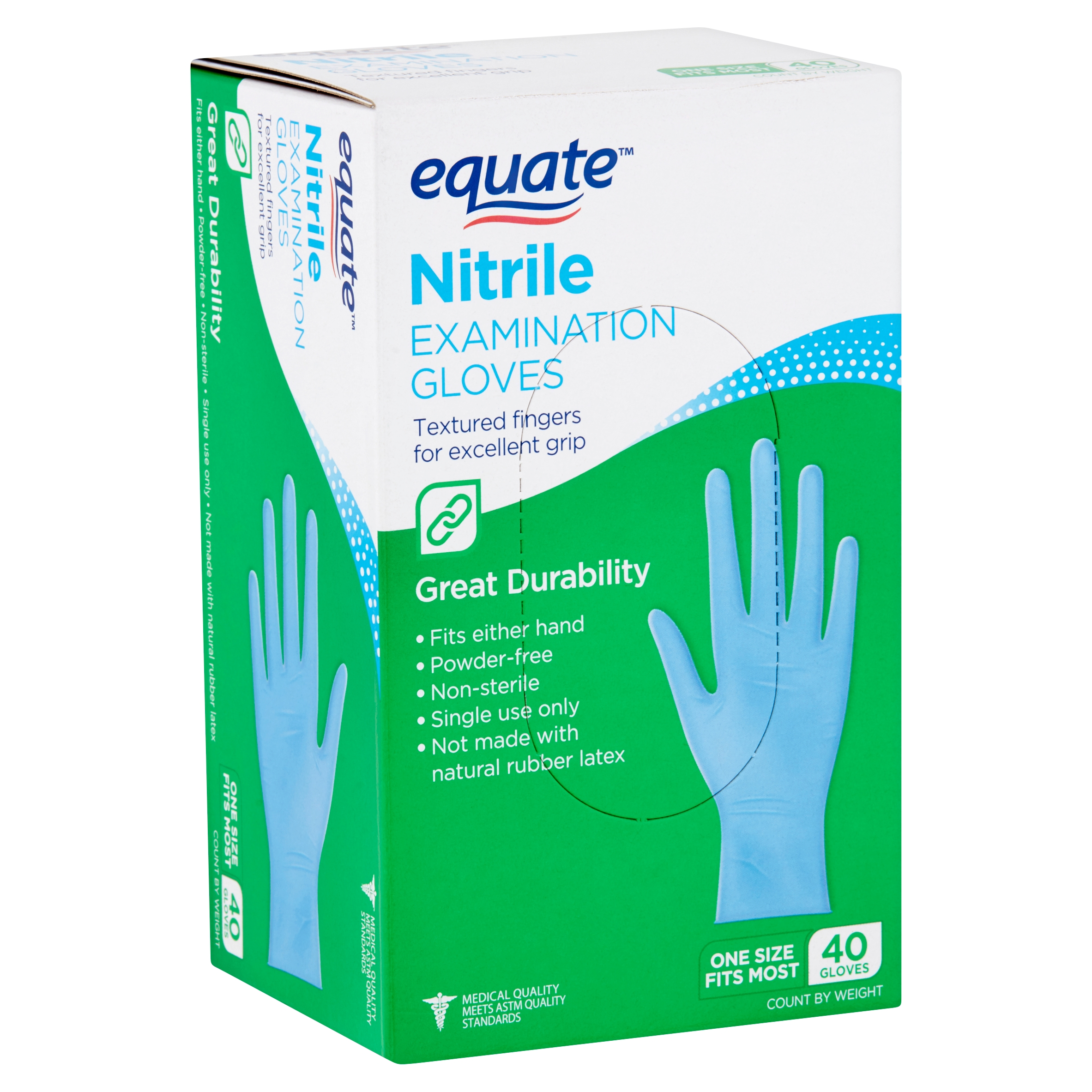 Equate Nitrile Examination Gloves, 40 count