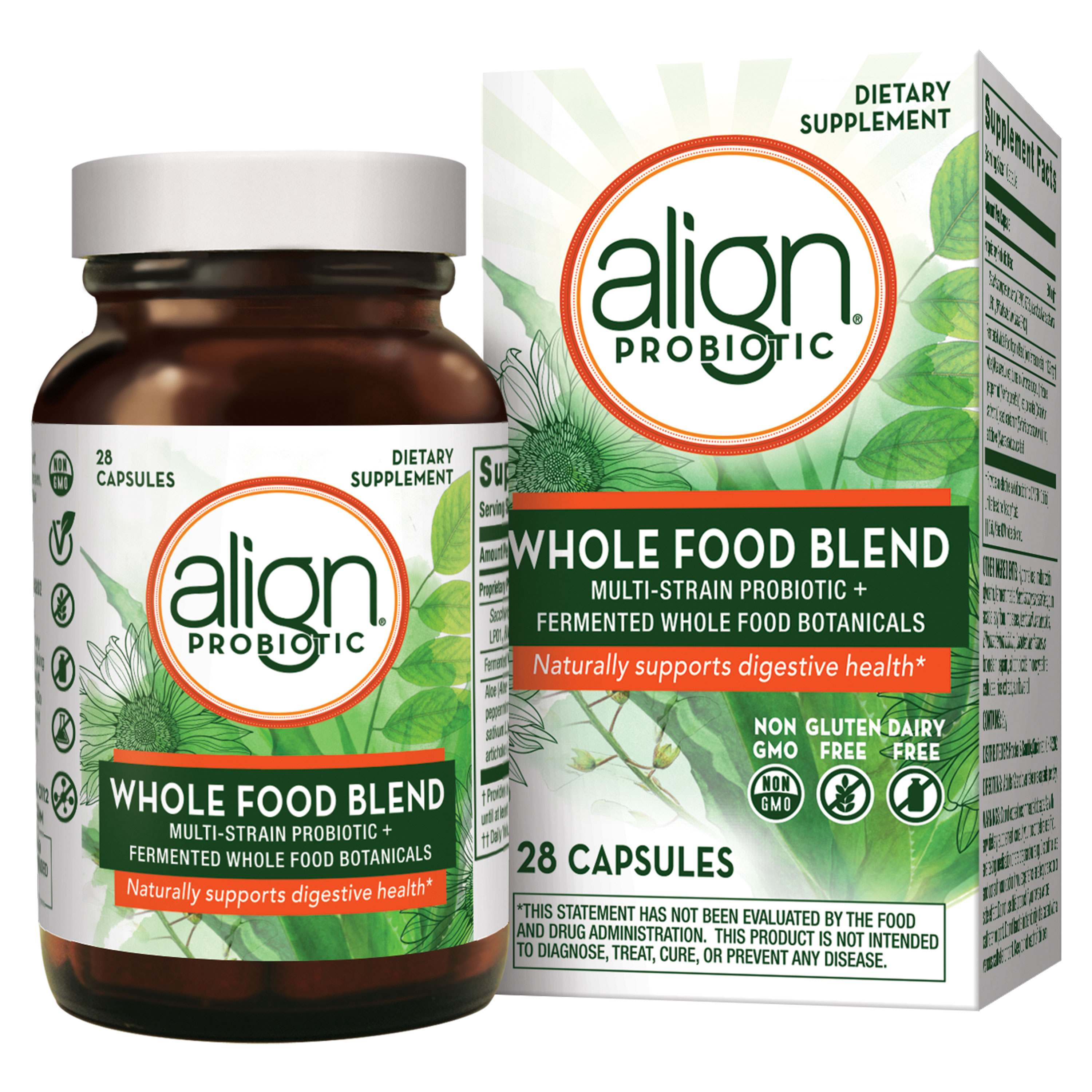 Align Whole Food Blend Multi-Strain Probiotic Supplement Made with Fermented Wholefood Botanicals, One a Day, Non-GMO, Vegan, Gluten Free, 28 Capsules