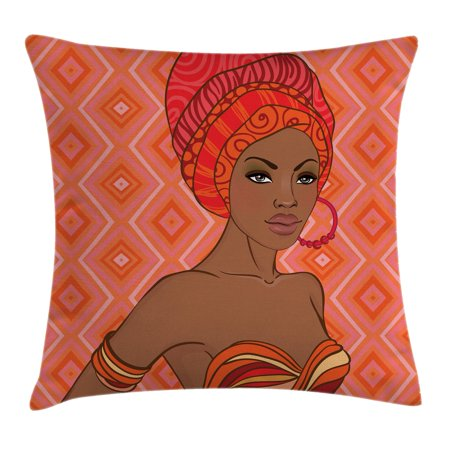 Afro Decor Throw Pillow Cushion Cover, Portrait of African Woman in Ethnic Dress Zulu Elegance Tribal Graphic Print, Decorative Square Accent Pillow Case, 20 X 20 Inches, Scarlet Umber, by Ambesonne