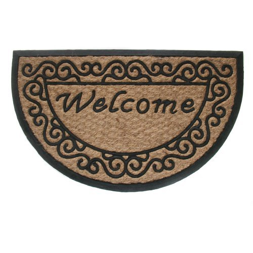 Geo Crafts Tuffcor Flat Weave Panama Half Round Scroll - Welcome