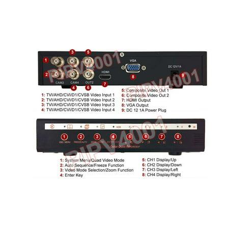 4-Port HD-CVI AHD HD-TVI RCA PIP Video Multiplexer 1080p HDMI VGA RCA -