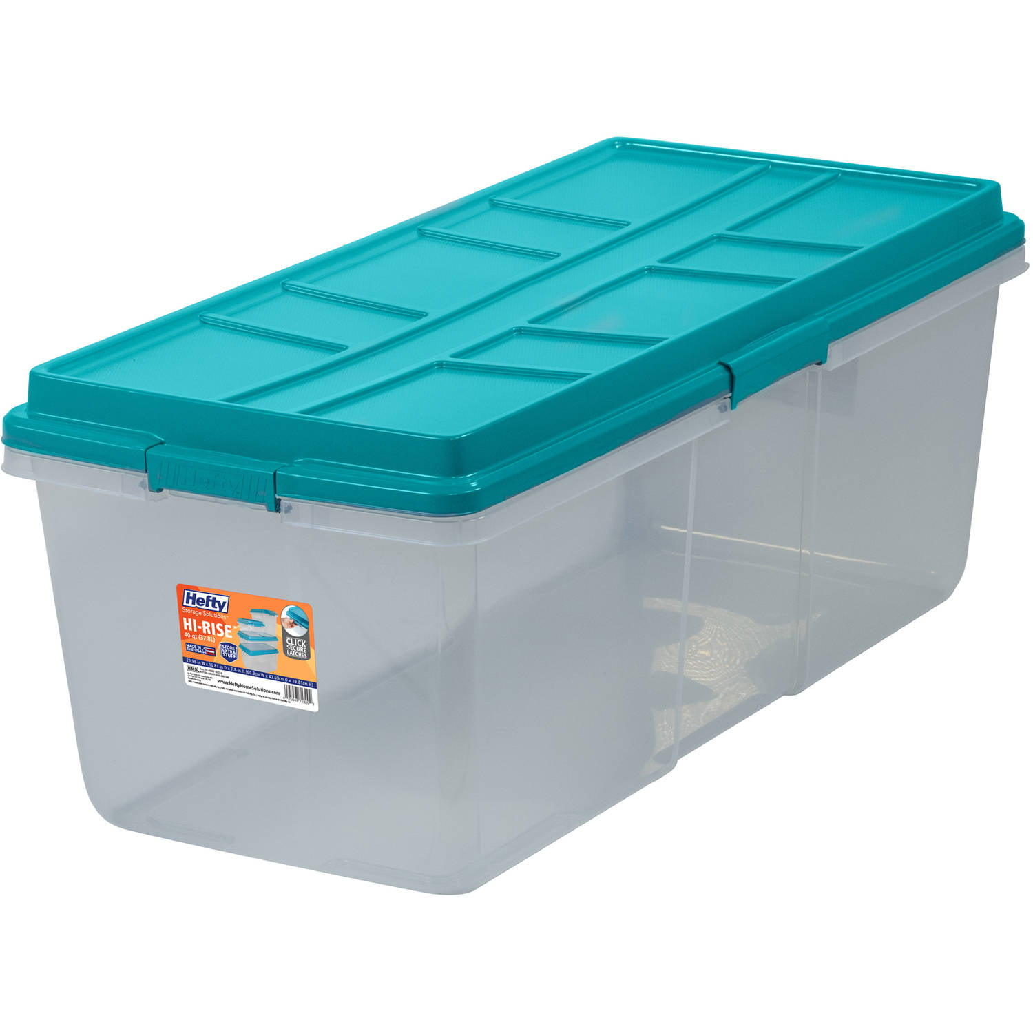 Click here to buy Hefty HI-RISE Storage Bins, 113 Qt. XL Stackable Bin with Latch, Teal Clear by HMS Mfg. Co..