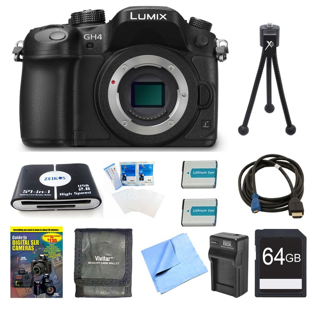Panasonic LUMIX DMC-GH4K DSLM Digital Camera Body 64GB an...