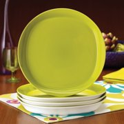Rachael Ray Dinnerware Round and Square 4-Piece Stoneware Dinner Plate Set, Orange