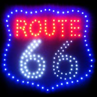 Electrical Route 66 LED Sign, Black, Mother Lane USA Route 66 LED Sign. Eye Catchinhg. Attention Gather. Product Size: 18.89 x 18.89x0.75