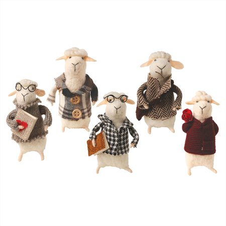 Discount Christmas Catalogs (Catalog Classics Felted Wool Sheep in Clothes Decorative Figurines - Set of 5 Cute Lamb)