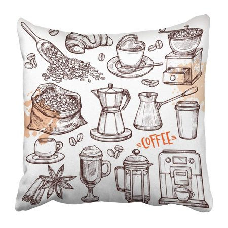 BPBOP Coffee Collection Sketch with Turk Cups Bag with Beans Croissant Mill Maker Kettle Latte Cinnamon Pillowcase Pillow Cushion Cover 16x16