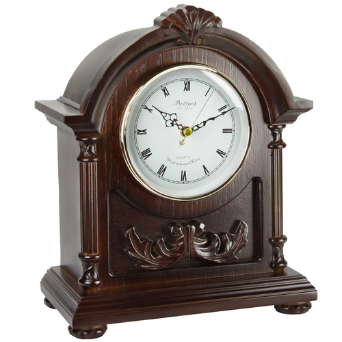Bedford Clock Collection Wood Mantel Clock with Chimes by Overstock