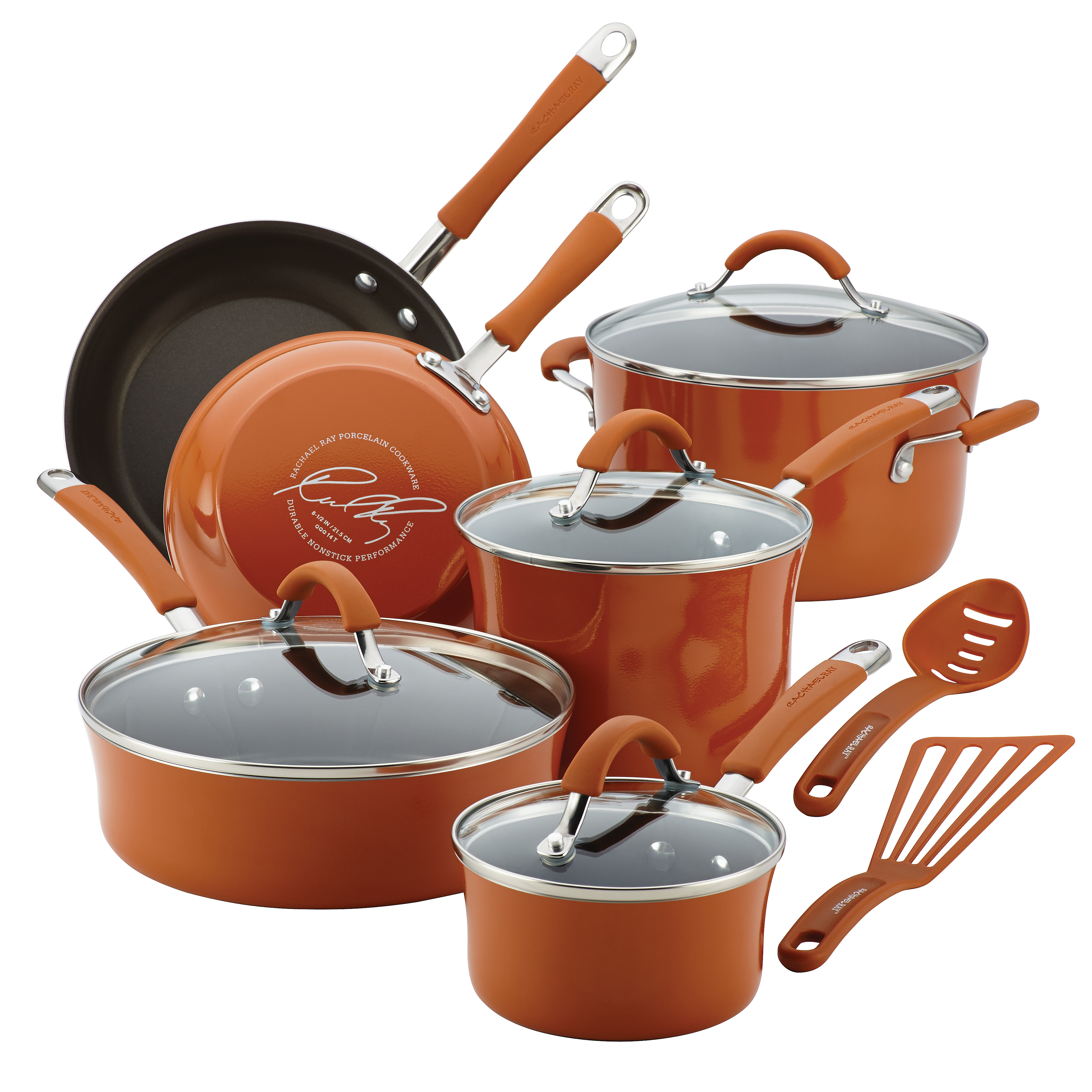 Rachael Ray(r) Cucina Hard Porcelain Enamel Nonstick Cookware Set, 12-Piece, Pumpkin Orange