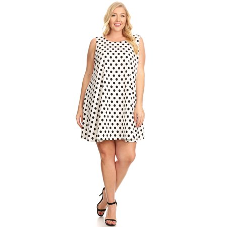 Moa Collection Womens Plus Size Polka Dot Pattern Loose Fitting