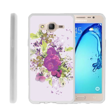 Raspberry Design (Samsung Galaxy On5 G550, Flexible Case [FLEX FORCE] Slim Durable TPU Sleek Bumper with Unique Designs - Raspberry and Flowers)