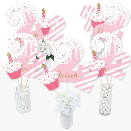 2nd Birthday Little Princess Crown - Pink and Gold Princess Second Birthday Party Centerpiece Sticks - Table Toppers (Clown Centerpieces)