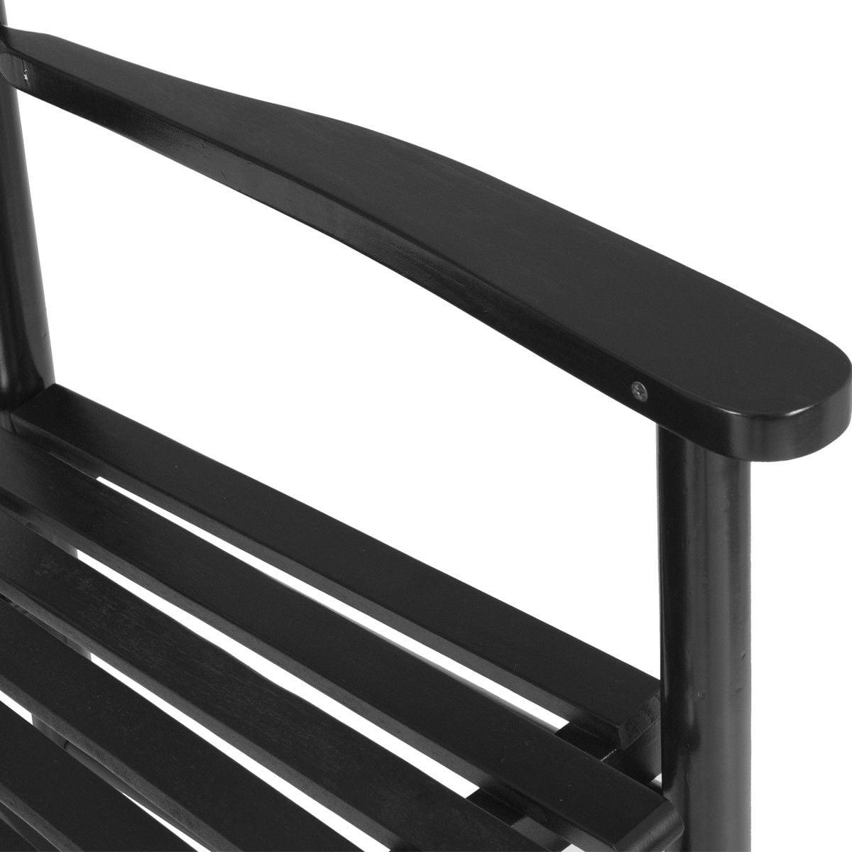 Gymax Wooden Rocking Chair Porch Rocker Armchair Balcony Deck Garden Furniture Black - image 5 of 8