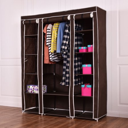 Costway 70 portable closet storage organizer clothes wardrobe shoe rack w shelves brown