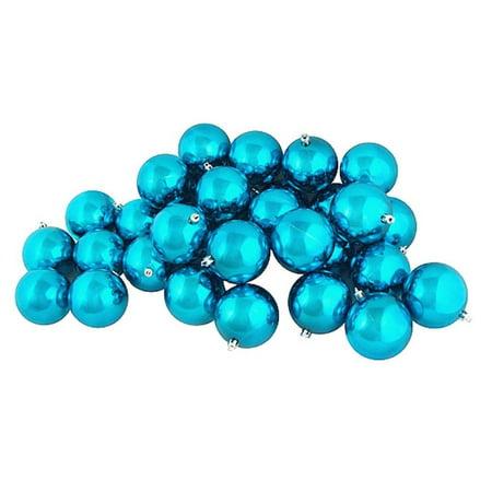 32ct Shiny Turquoise Blue Shatterproof Christmas Ball Ornaments 3.25