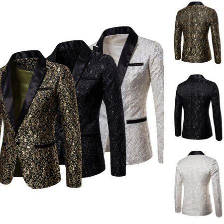 Men's Jacquard Tuxedo Slim Fit One Button Blazer Party Casual Suits Coat Jacket Outwear