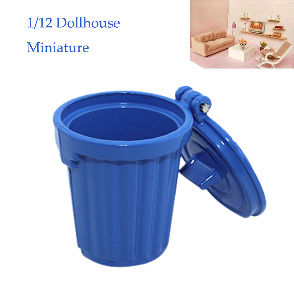 1/12 Miniature Dollhouse Accessories Mini Garbage Trash Can Decor Gift Toy