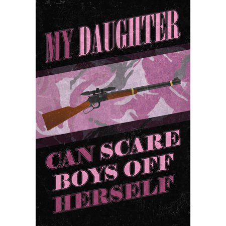 My Daughter Can Scare Boys Off Herself Print Purple Camo Design Gun Picture Hunter Hunting ()