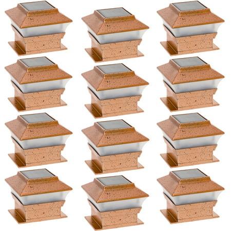 GreenLighting Copper Solar Outdoor Garden Patio 4x4 LED Post Cap Light (12 Pack)