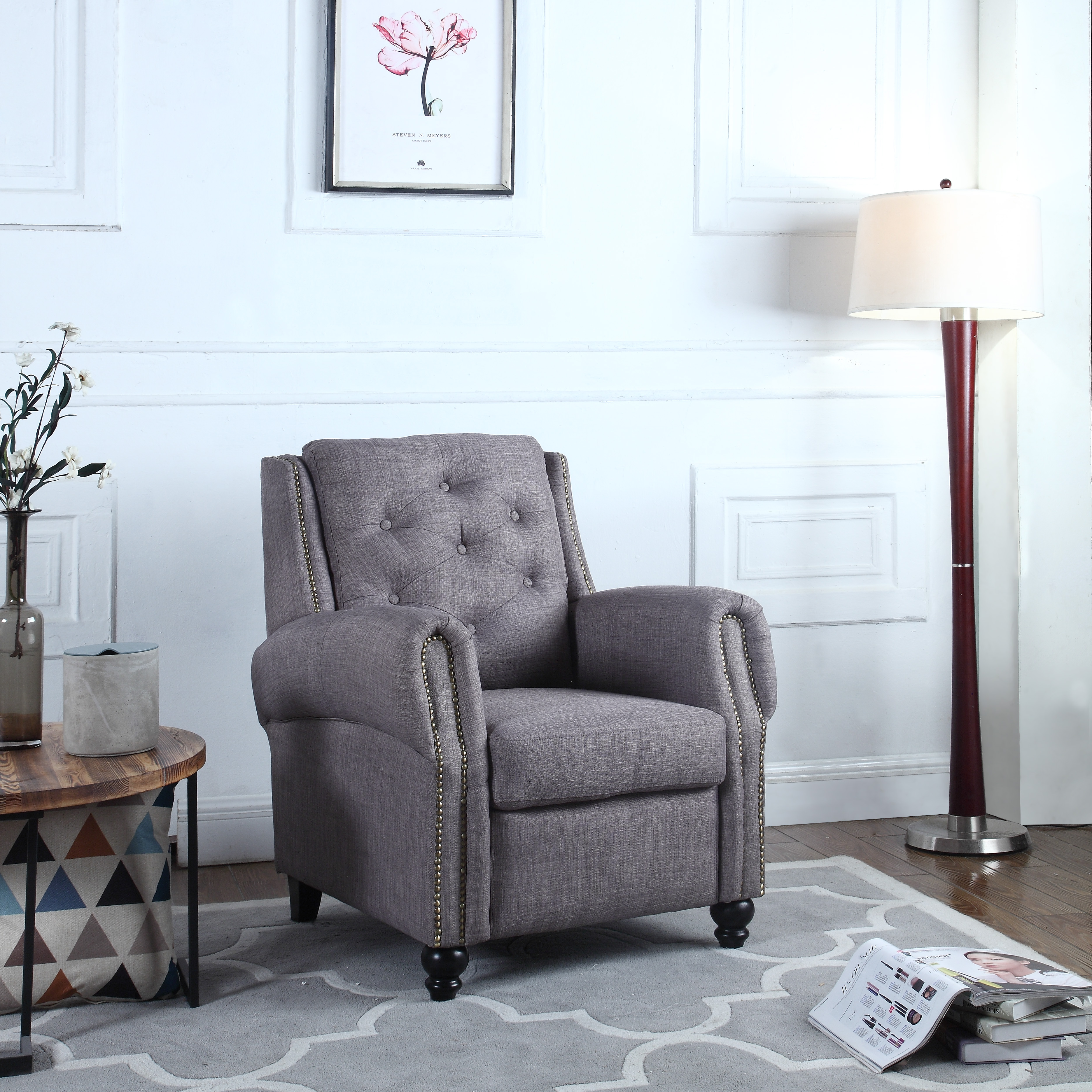 Traditional Tufted Scroll Arm Chesterfield Linen Fabric Accent Chair, Living Room Armchair... by Casa Andrea Milano