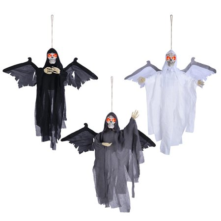 Halloween In The Usa (Yescom 3pcs Halloween Hanging Ghosts Prop Sound Sensor Animated Scary Haunted Flying Skull Red Flashing)