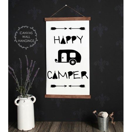 Wood Canvas Sign Wall Hanging Retro Hy Camper Art 15x26 Inch